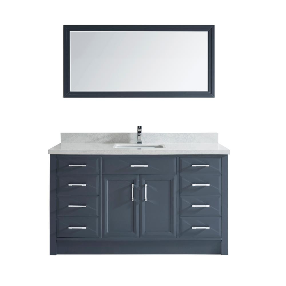 Studio Bathe Calais 60 in. W x 22 in. D Vanity in Pepper Gray with Solid Surface Vanity Top in White with White Basin and Mirror