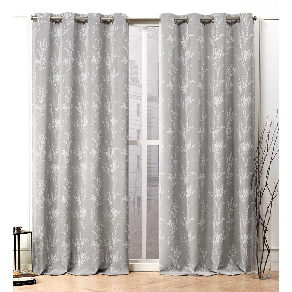 Nicole Miller Turion Ash Grey Blackout Grommet Top Curtain Panel - 52 in. W x 84 in. L (2-Panel)
