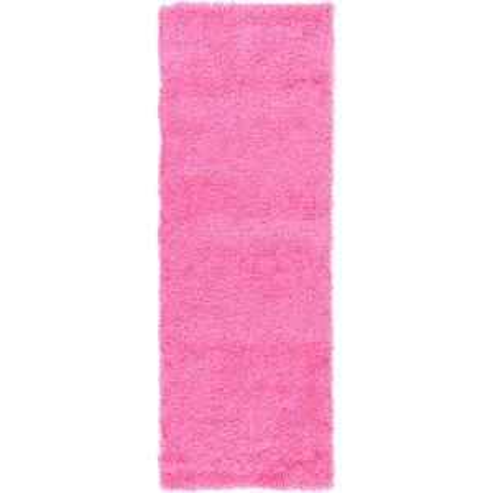 Solid Shag Taffy Pink 6 ft. Runner Rug