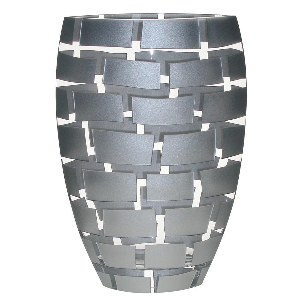 Metallics Silver Wall Design Mouth Blown European Decorative Vase