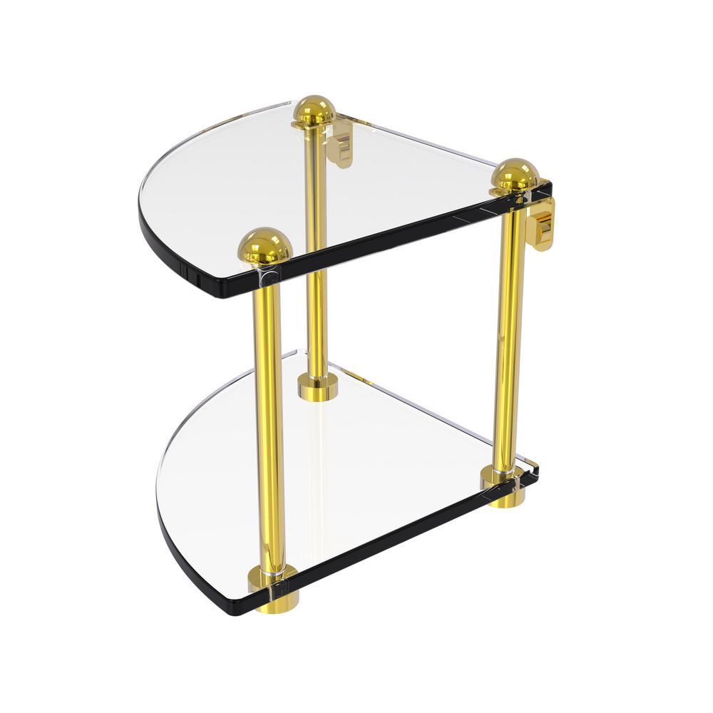 Allied Brass 8 in. 2-Tier Corner Glass Shelf in Polished Brass-RC-3 ...
