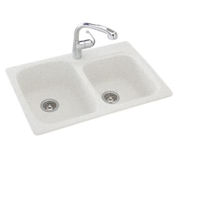 Drop-In/Undermount Solid Surface 33 in. 1-Hole 55/45 Double Bowl Kitchen Sink in Arctic Granite