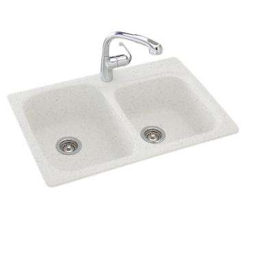 Drop-In/Undermount Composite 33 in. 1-Hole 55/45 Double Bowl Kitchen Sink in Arctic Granite