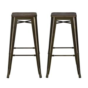 DHP Penelope 30 inch Antique Bronze Bar Stool with Wood Seat (Set of 2) by DHP