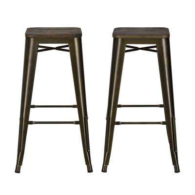 Penelope 30 in. Antique Bronze Bar Stool with Wood Seat (Set of 2)