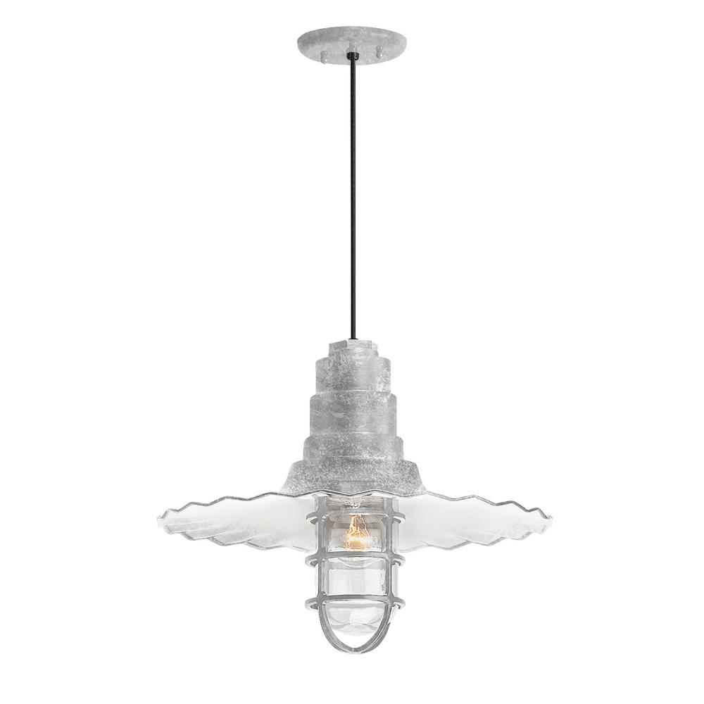 Troy Rlm Radial Wave 16 In Shade 1 Light Galvanized Finish Pendant