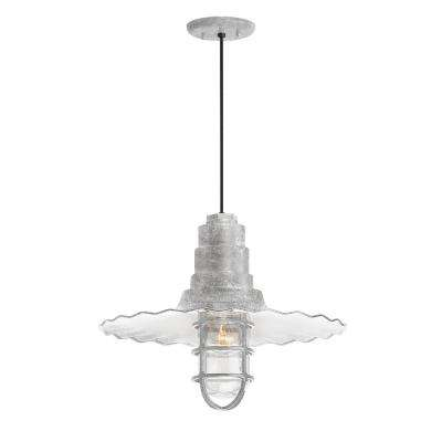 Radial Wave 16 in. Shade 1-Light Galvanized Finish Pendant