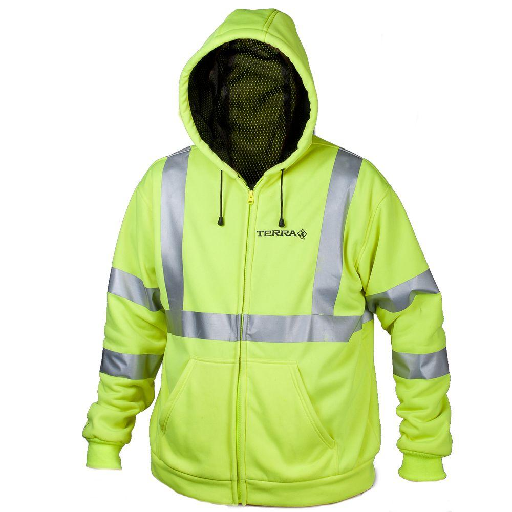 Terra XX-Large Yellow Hi-Vis Full Zip Hoodie with Reflective Band