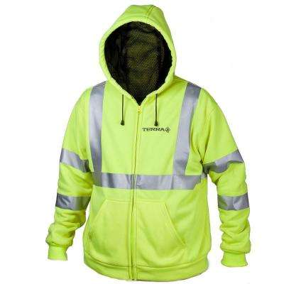 Large Yellow Hi-Vis Full Zip Hoodie with Reflective Band