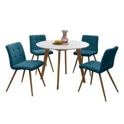 Edgewater 5-Piece Dining Set with White Topped Round Table and Armless Upholstered Dining Chairs in Peacock Blue Linen