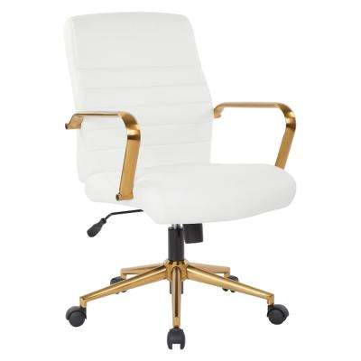 Mid-Back White Faux Leather Chair with Gold Arms and Base