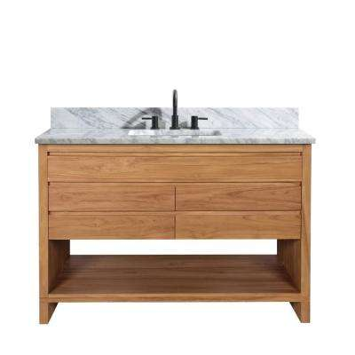 Kai 49 in. W x 22 in. D x 35 in. H Bath Vanity in Natural Teak with Marble Vanity Top in White and White Basin