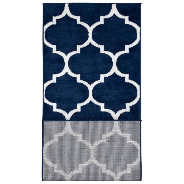 Ottomanson Royal Collection Navy Trellis Design 1 Ft 8 In X 4 Ft 11 In Runner Rug Ryl1324 2x5 The Home Depot