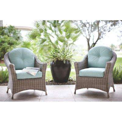 Lake Adela Patio Weathered Grey Chat Chairs with Surf Cushions (2-Pack)