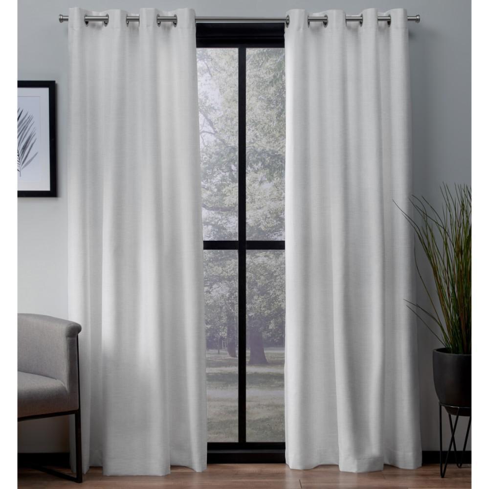 London 52 in. W x 63 in. L Woven Blackout Grommet Top Curtain Panel in Winter White (2 Panels)