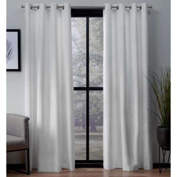 London 52 in. W x 63 in. L Woven Blackout Grommet Top Curtain Panel in Winter White (2 Panels)