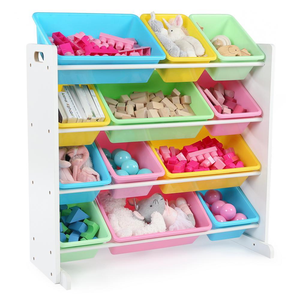 Tot Tutors Pastel Collection White/Pastel Toy Storage Organizer with 12 Plastic Bins