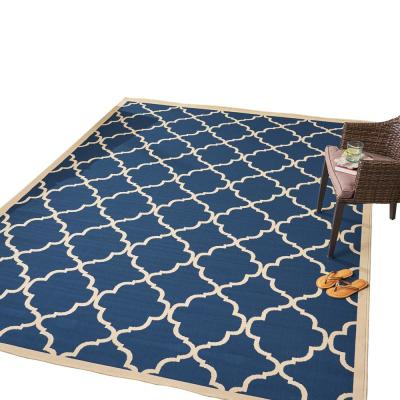 Joselyn Navy and Ivory 8 ft. x 11 ft. Trellis Indoor/Outdoor Area Rug
