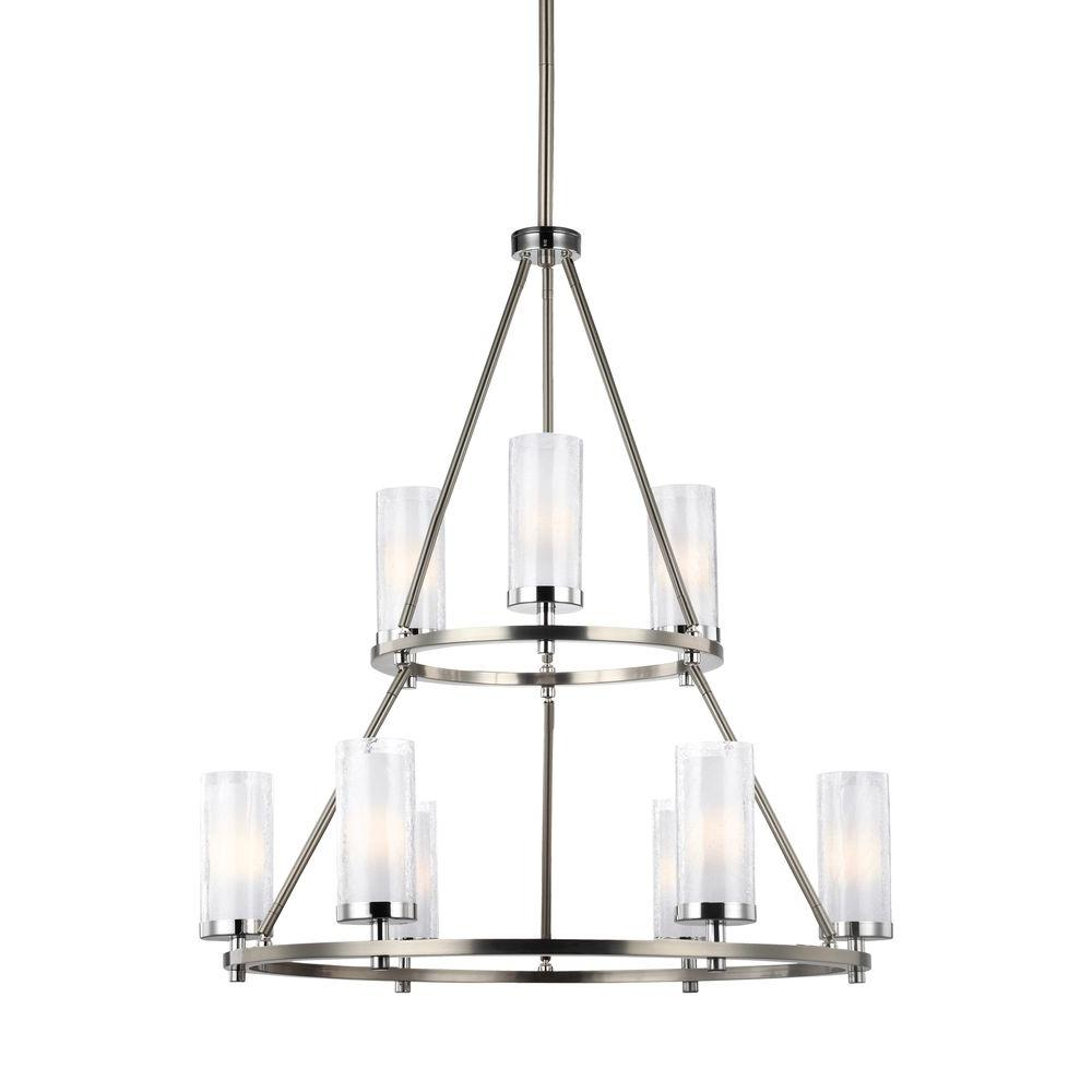 Feiss Jonah 9-Light Satin Nickel/Chrome Multi-Tier Chandelier Shade