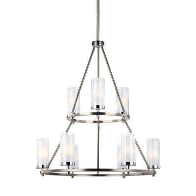 Jonah 9-Light Satin Nickel/Chrome Multi-Tier Chandelier Shade