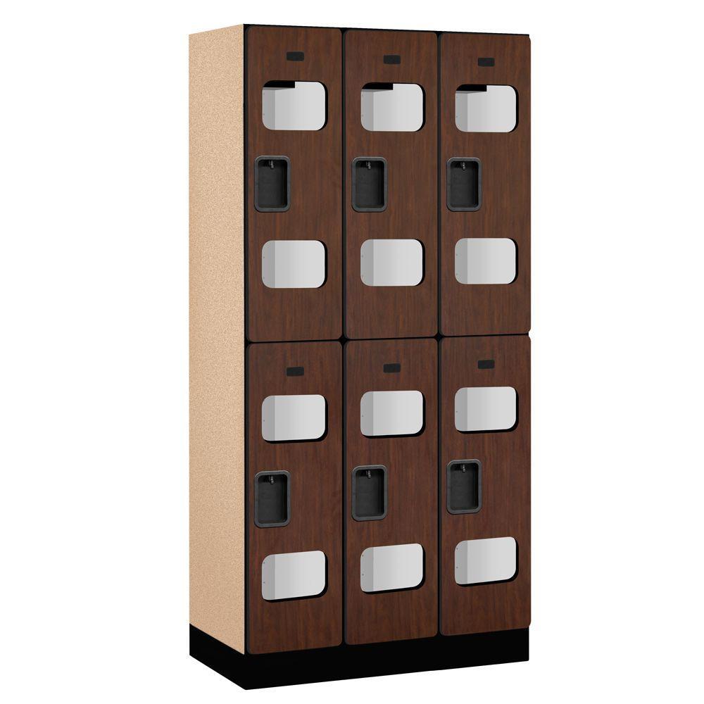 S-32000 Series 36 in. W x 76 in. H x 18 in. D 2-Tier See-Through Designer Wood Locker in Mahogany