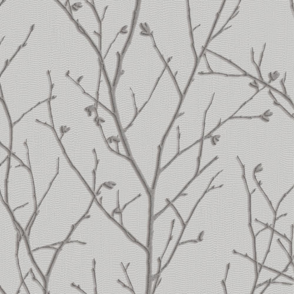 Graham Brown Evita Water Silk Sprig Silver Wallpaper Sample
