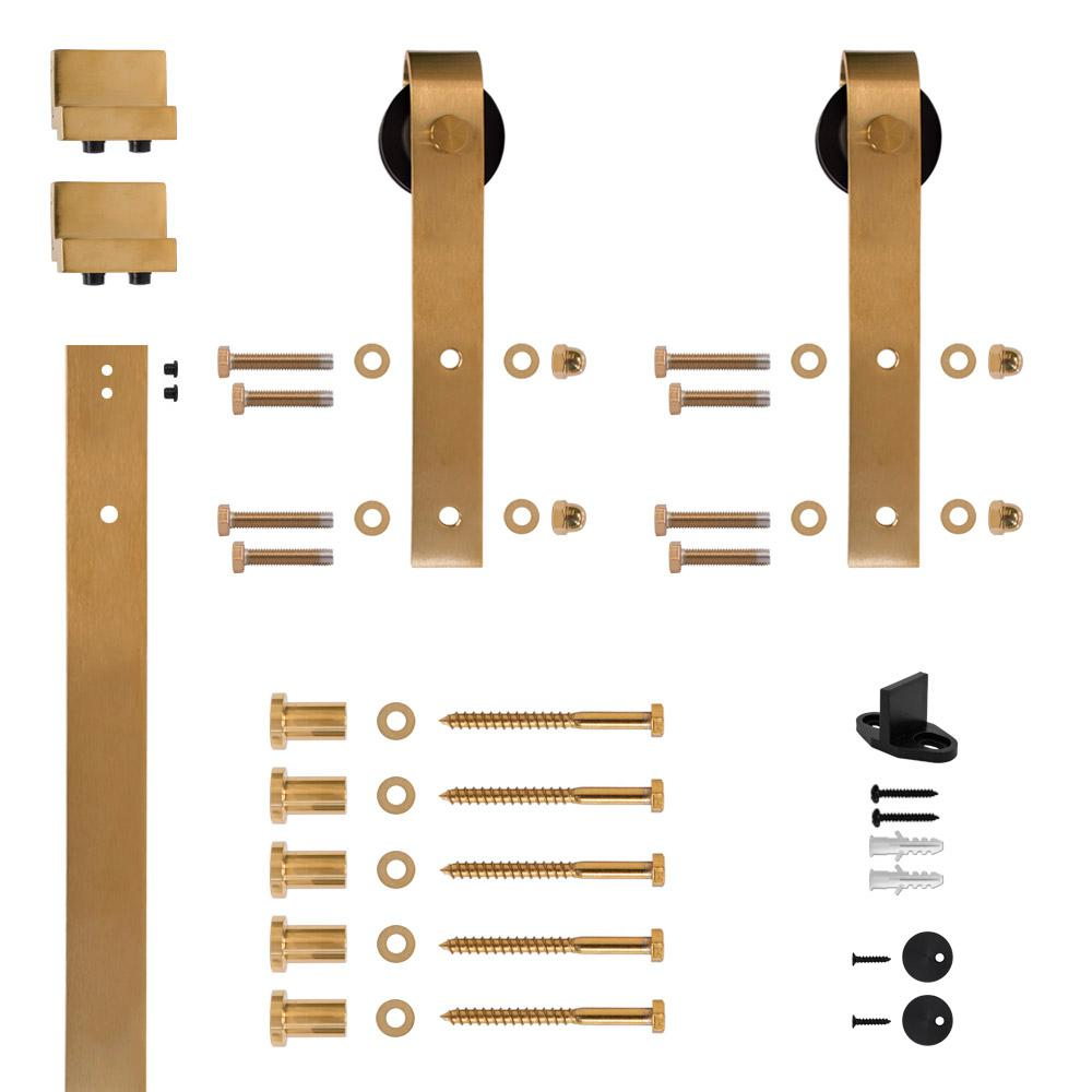 Hook Strap Satin Brass PVD Rolling Barn Door Hardware Kit with