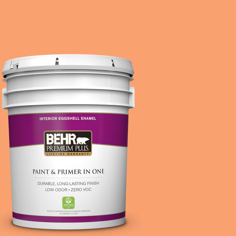 BEHR Premium Plus 5-gal. #P210-5 Cheerful Tangerine Eggshell Enamel Interior Paint