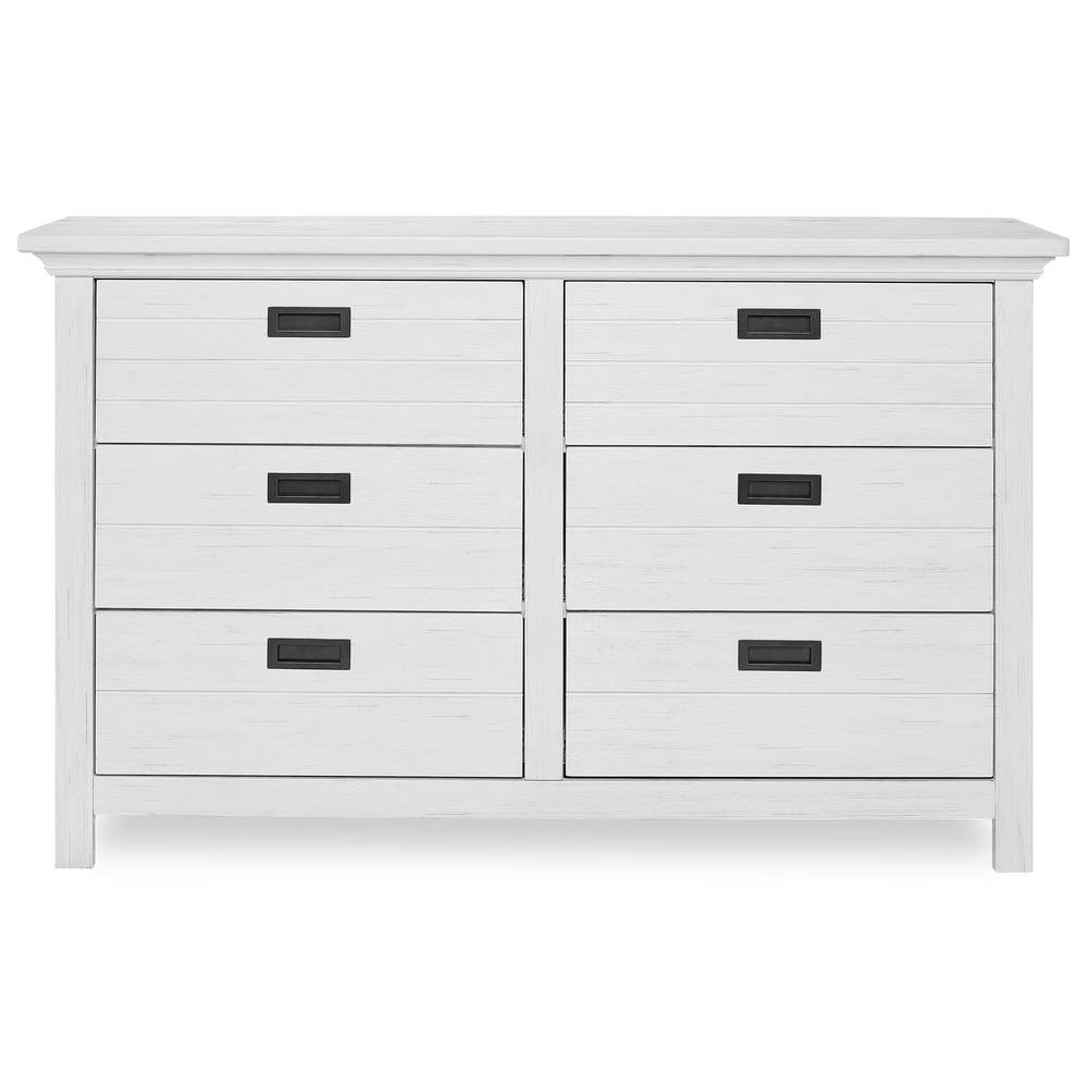 Waverly 6-Drawer Weathered White Dresser