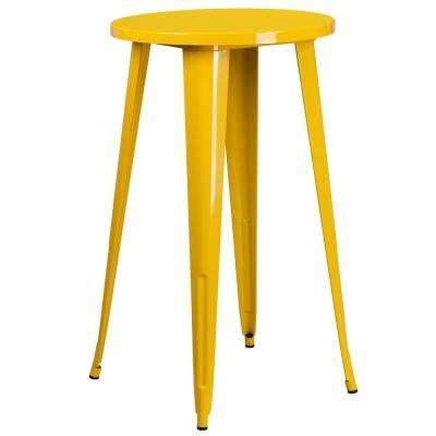 Yellow Round Metal Outdoor Bistro Table