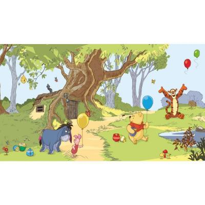 Pooh & Friends Mural Multi-ColoRed Paper Strippable Panel Wallpaper (Covers 0 sq. ft.)
