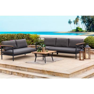 4-Piece Aluminum Outdoor Sectional Sofa Set with Black Cushions