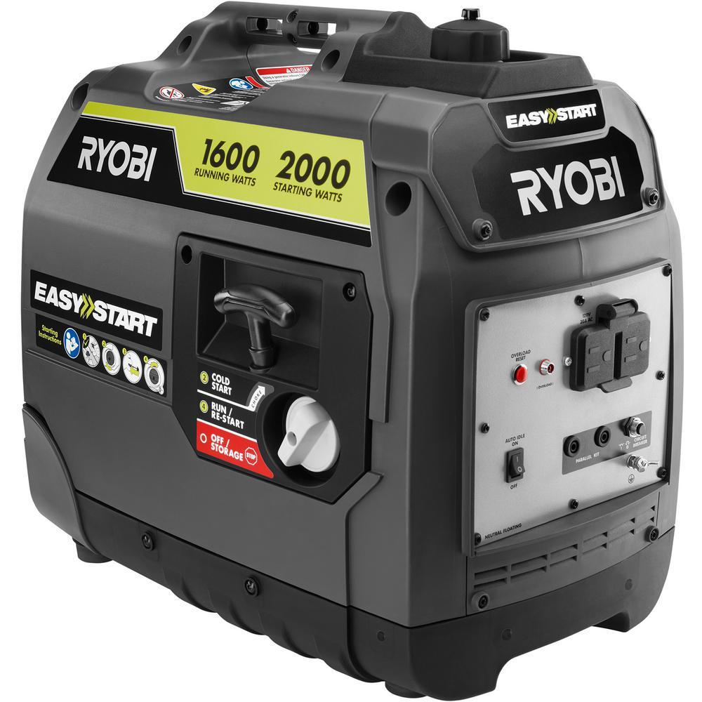 Ryobi Inverter Generator 2,000 Watt Gray Gasoline Powered Digital