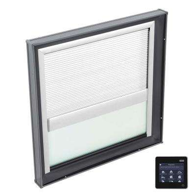 30-1/2 in. x 30-1/2 in. Fixed Curb Mount Skylight w/ Tempered Low-E3 Glass & White Solar Powered Room Darkening Blind