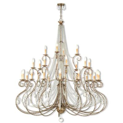 Isabella 28-Light Hand Applied European Bronze Grand Foyer Chandelier