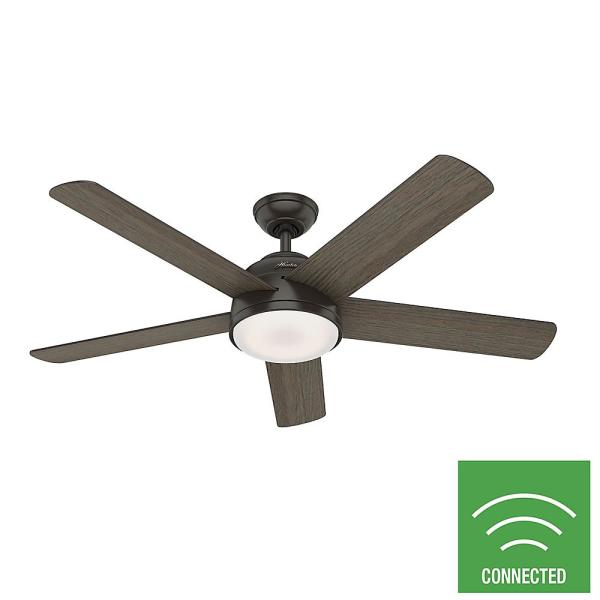 Romulus 54 in. Integrated LED Indoor Noble Bronze Smart Ceiling Fan with Light Kit and Remote Control
