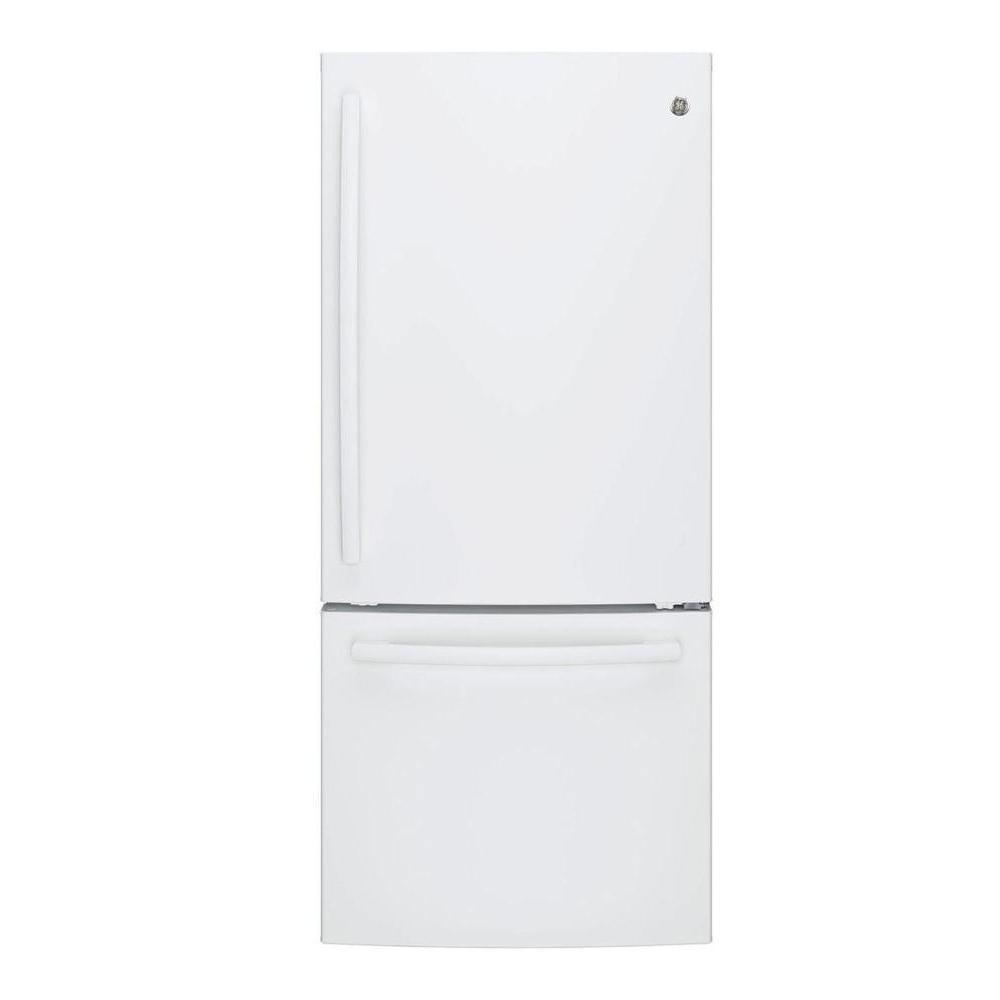 30 in. W 20.9 cu. ft. Bottom Freezer Refrigerator in White