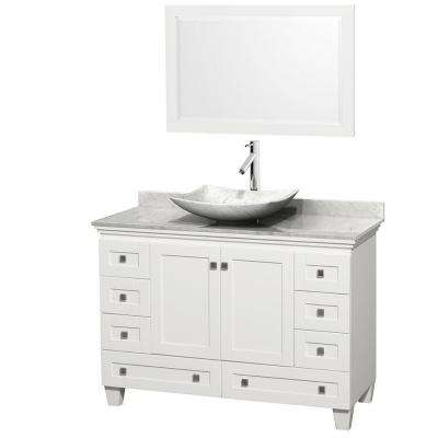 Acclaim 48 in. W Vanity in White with Marble Vanity Top in Carrara White, White Carrara Marble Sink and Mirror