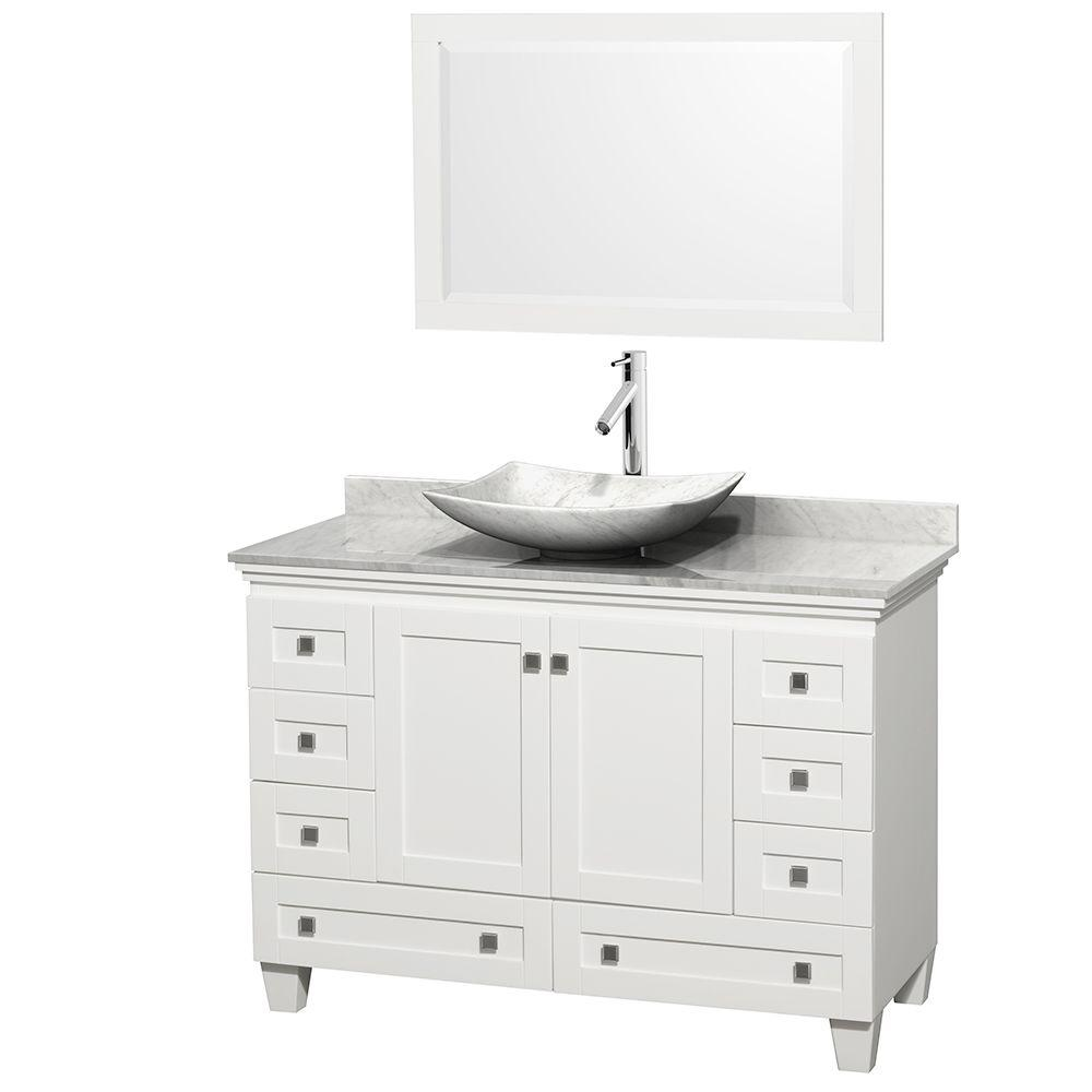 Wyndham Collection Acclaim 48 in. W Vanity in White with Marble Vanity Top in Carrara White, White Carrara Marble Sink and Mirror