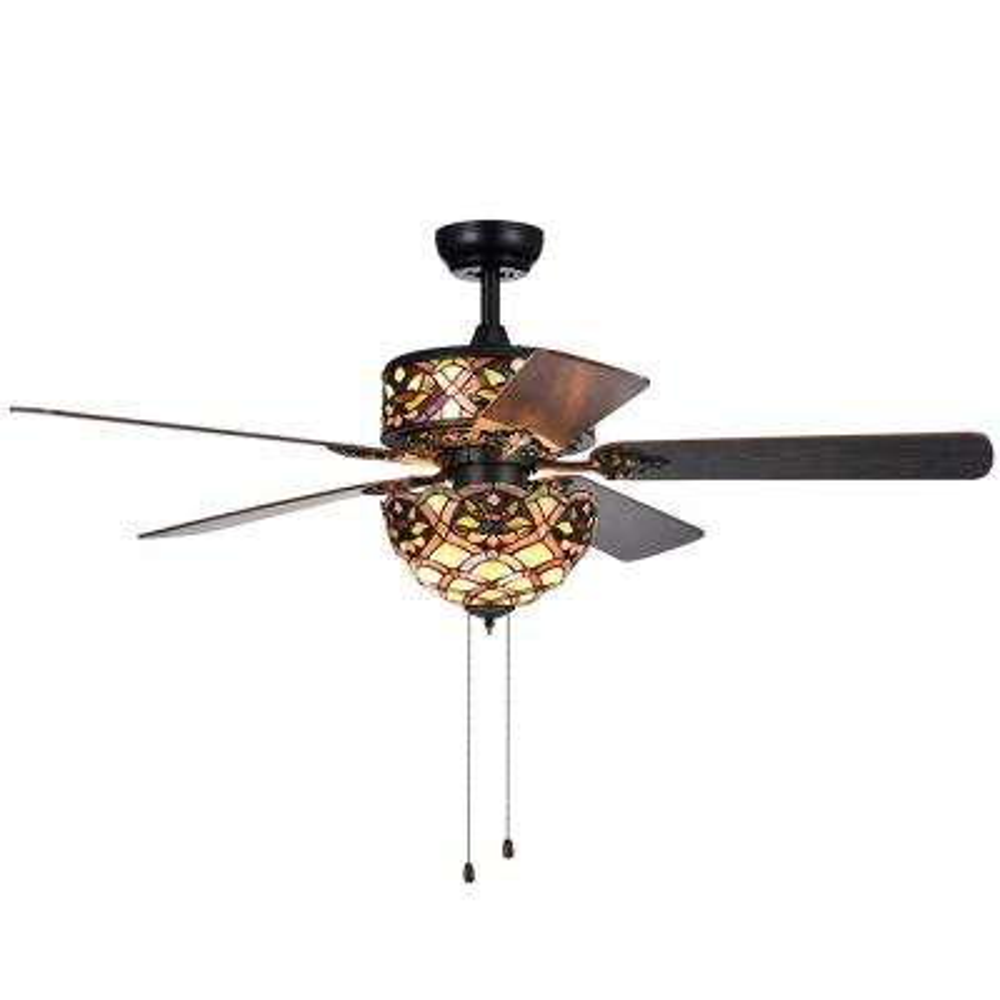 Kalsti 52 in. Indoor Matte Black Ceiling Fan with Light Kit