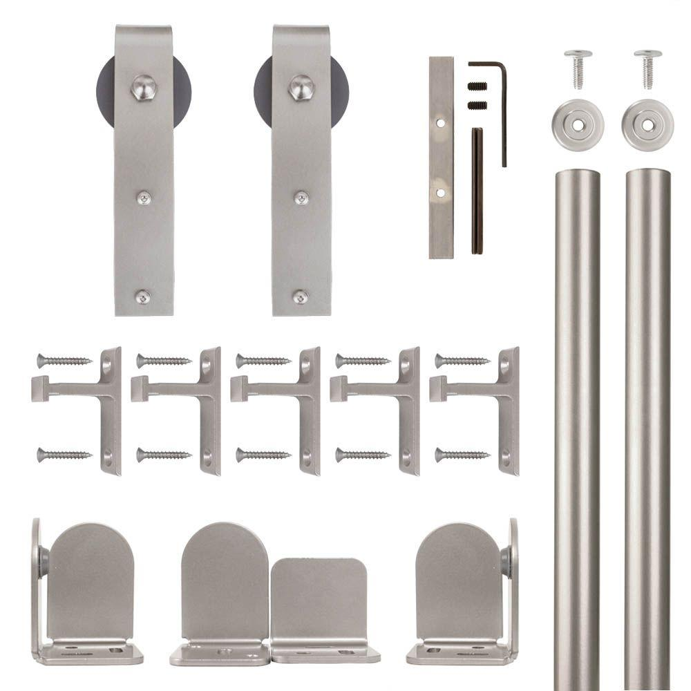 Quiet Glide Hook Hardware Satin Nickel Rolling Door Hardware Kit For 1 1/2