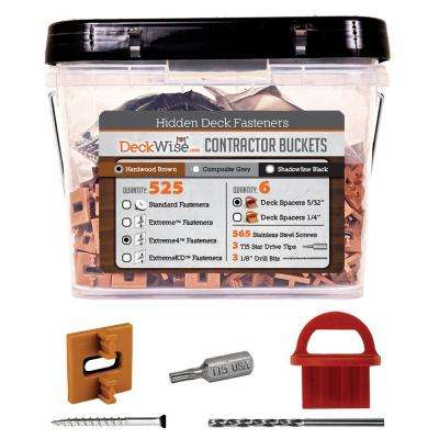 Extreme4 Ipe Clip Brown Biscuit Style Hidden Deck Fastener Kit for Hardwoods (525-Bucket)