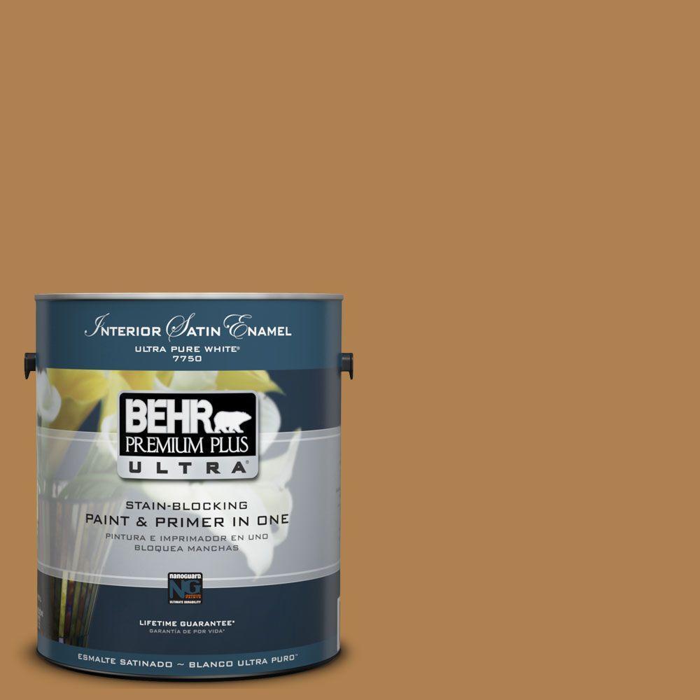 BEHR Premium Plus Ultra 1-Gal. #UL160-2 Gold Plated Interior Satin Enamel Paint