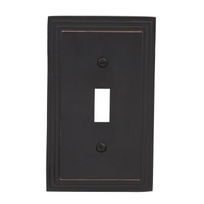 Tiered 1 Gang Toggle Metal Wall Plate - Aged Bronze