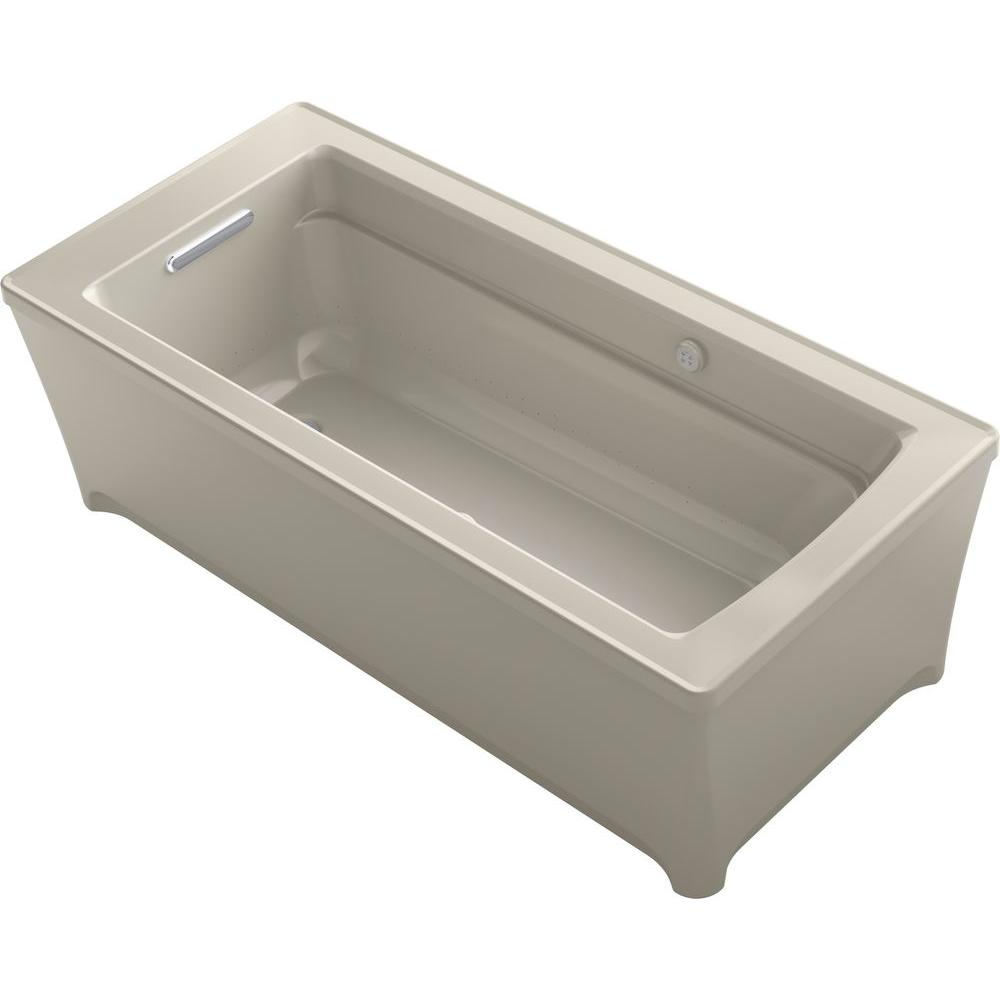 KOHLER Archer 5.6 ft. Reversible Drain Air Bath Tub in Sandbar
