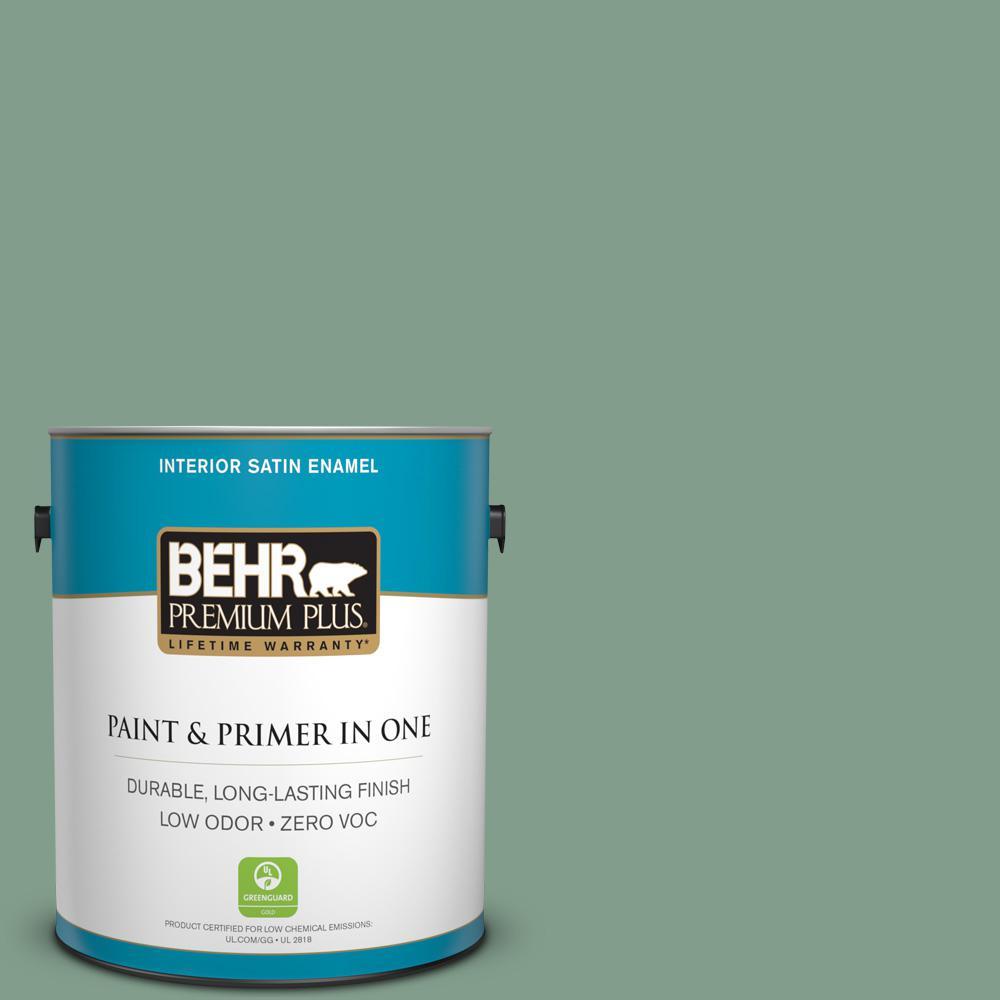 1-gal. #S410-5 Track Green Satin Enamel Interior Paint