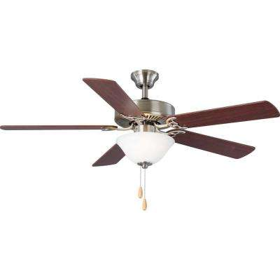 5-Blade 52 in. Integrated LED Brushed Nickel Ceiling Fan with Light Kit
