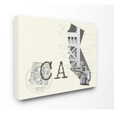 """30 in. x 40 in. """"California Black and White Photograph on Cream Paper Postcard"""" by Daphne Polselli Canvas Wall Art"""