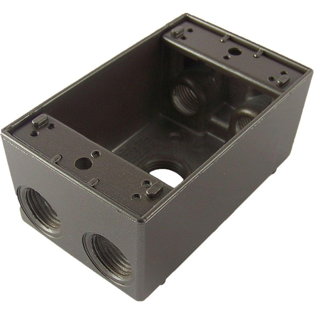 1 Gang Weatherproof Electric Outlet Box with Five 1/2 in. Holes