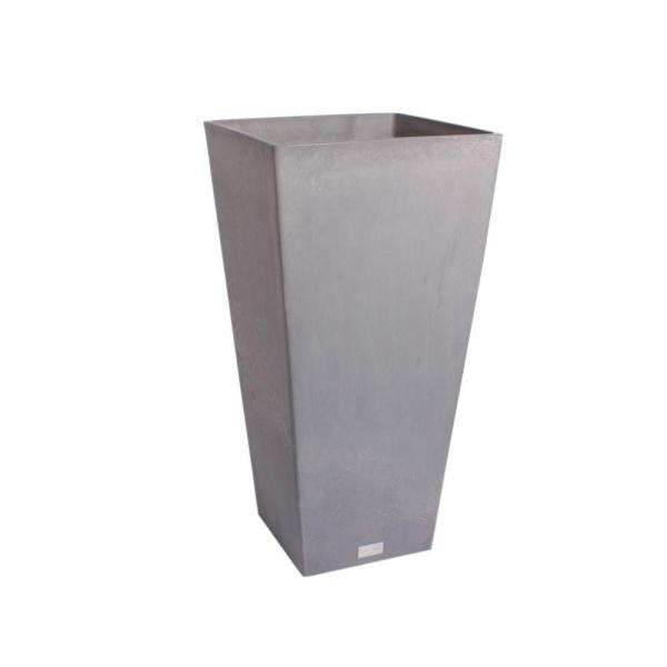 Midland 30 in. Charcoal Plastic Tall Square Planter